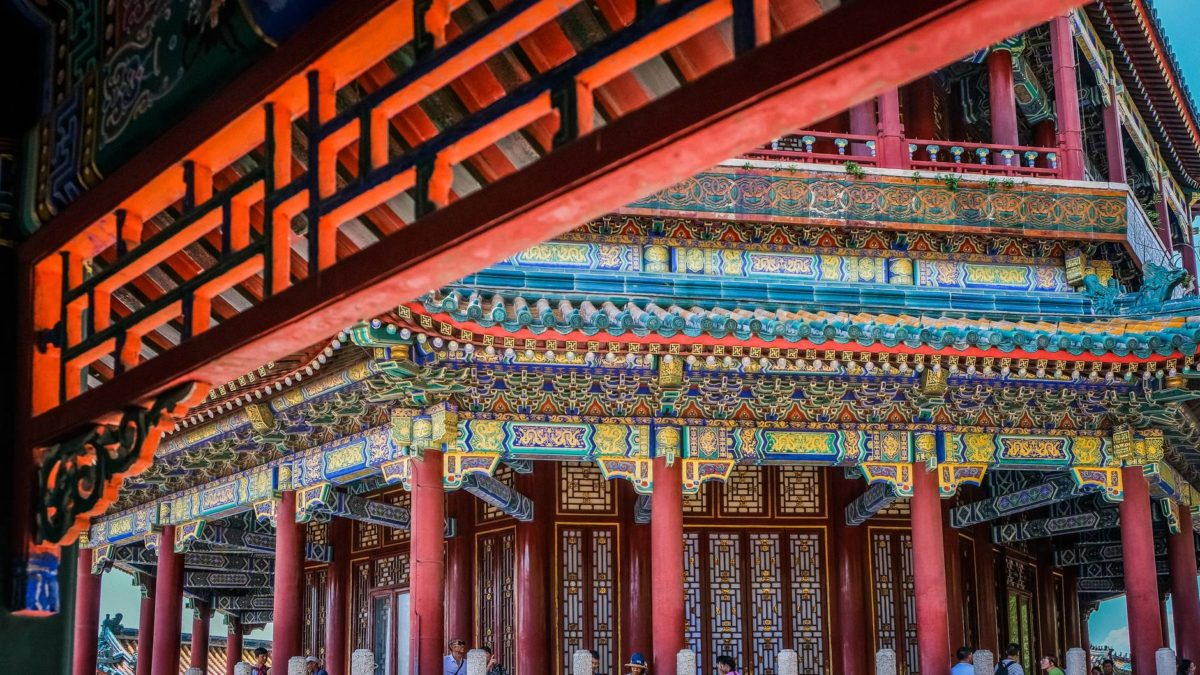 intricate chinese architectural design of a colorful temple