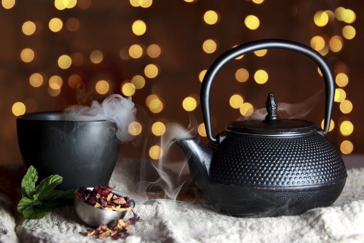 close up of black teapot