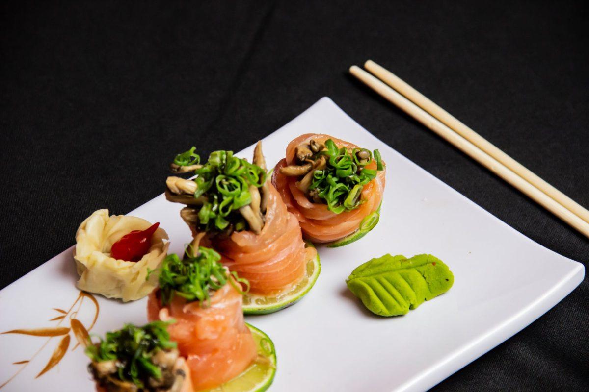 food presentation on ceramic plate