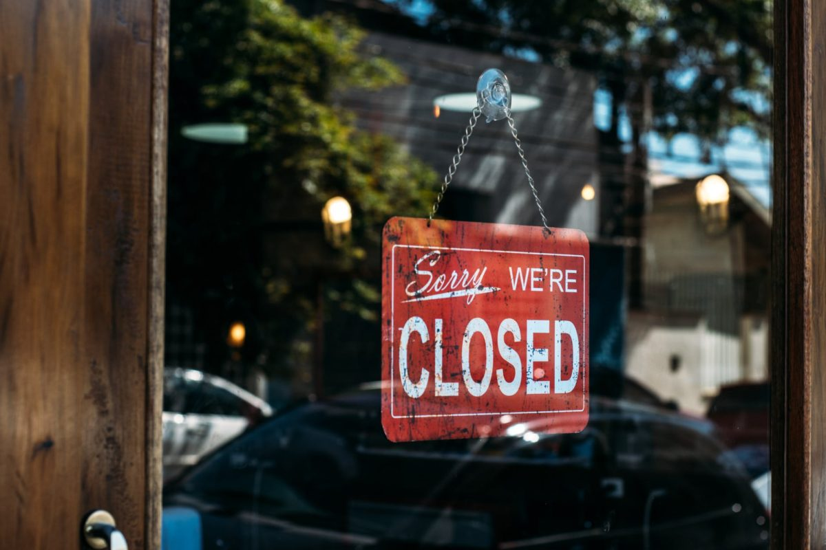 closed hanged on door