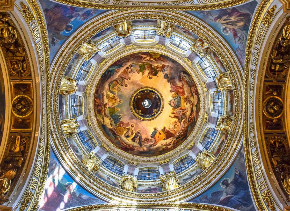 religious paintings on a cathedral s ceiling