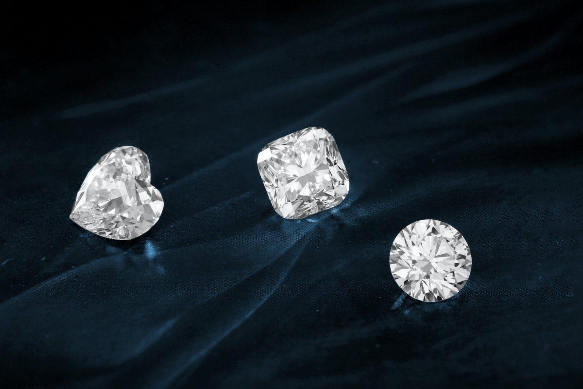 diamonds on dark surface