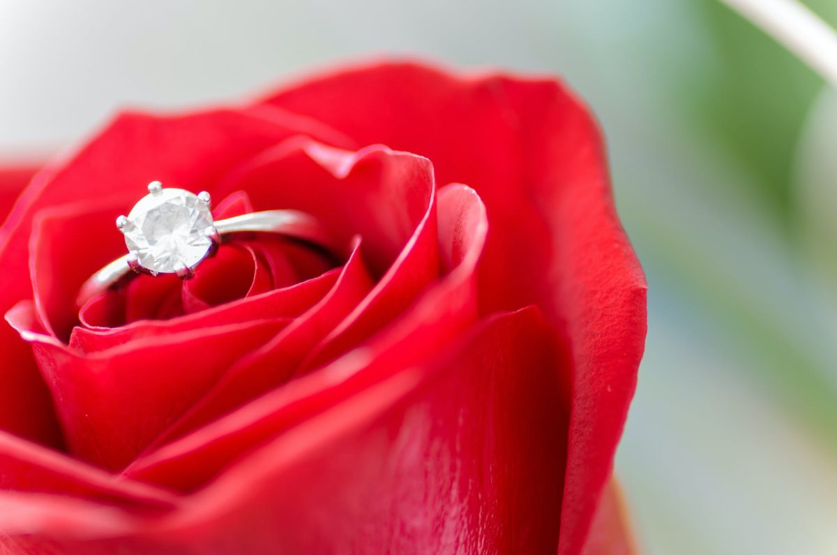 silver colored ring in rose
