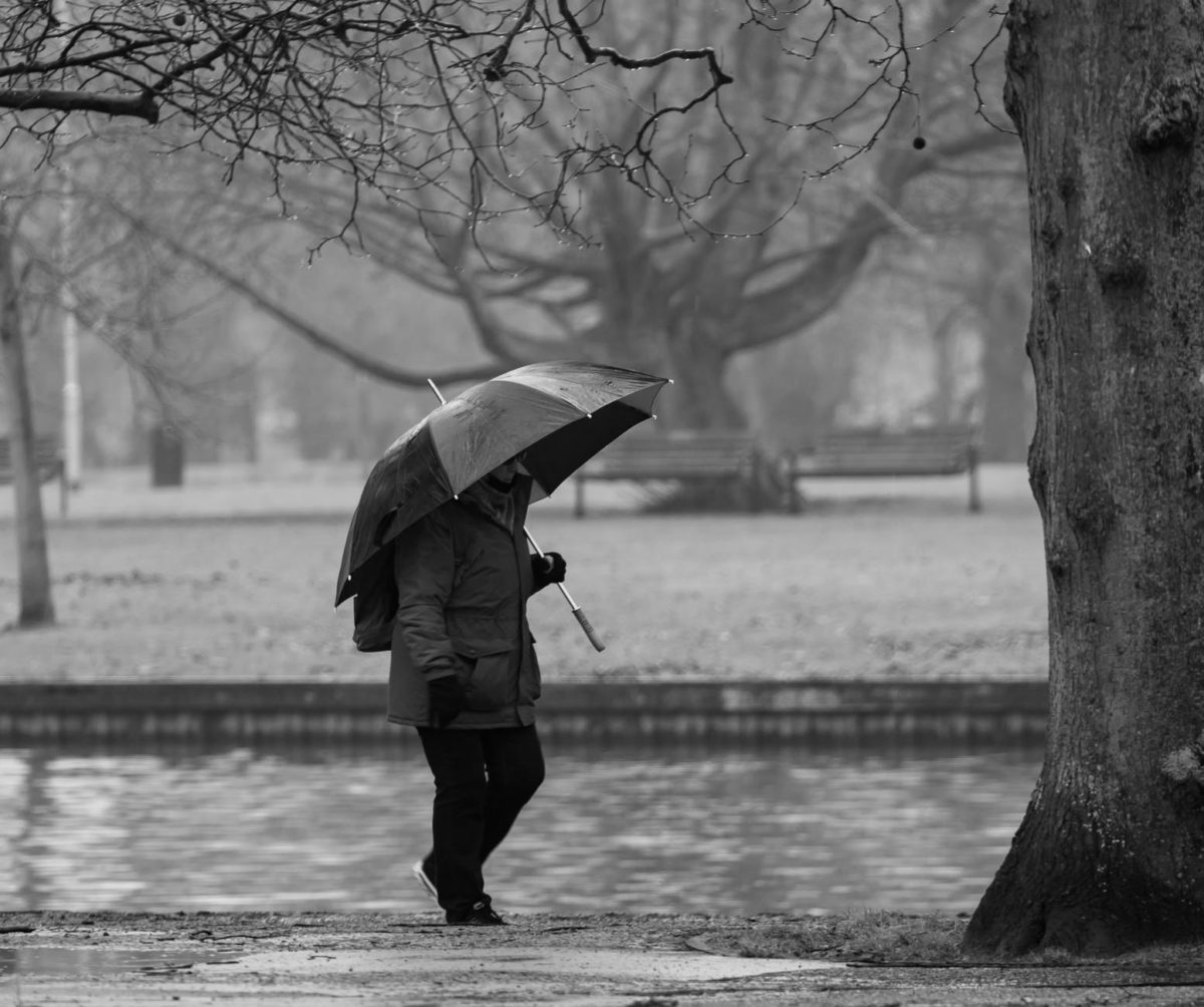 grayscale photo of person holding umbrella